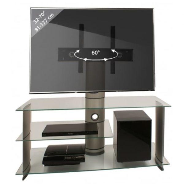 TV kast TV meubel Bulmo verrijdbaar draaibaar zilver/helder
