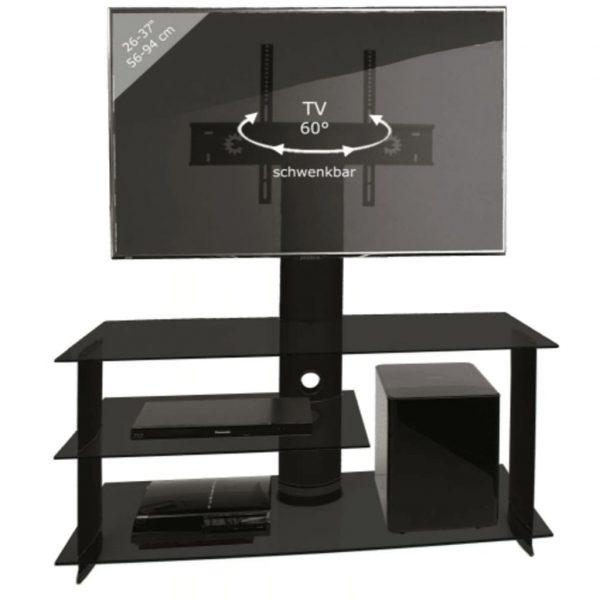 TV kast TV meubel Bulmo verrijdbaar draaibaar zwart/zwart glas